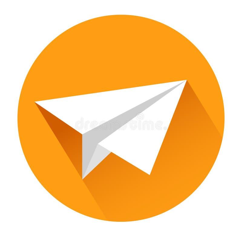Icono del aeroplano de papel en el blanco, ejemplo común del vector libre illustration