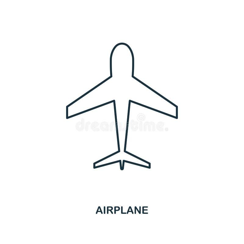 Icono del aeroplano Diseño del icono del estilo del esquema Ui Ejemplo del icono del aeroplano pictograma aislado en blanco Listo libre illustration