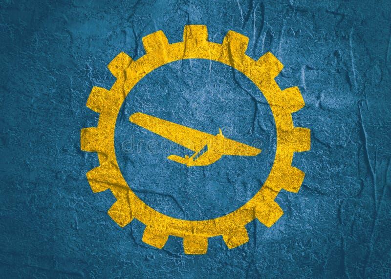 Icono del aeroplano en engranaje stock de ilustración