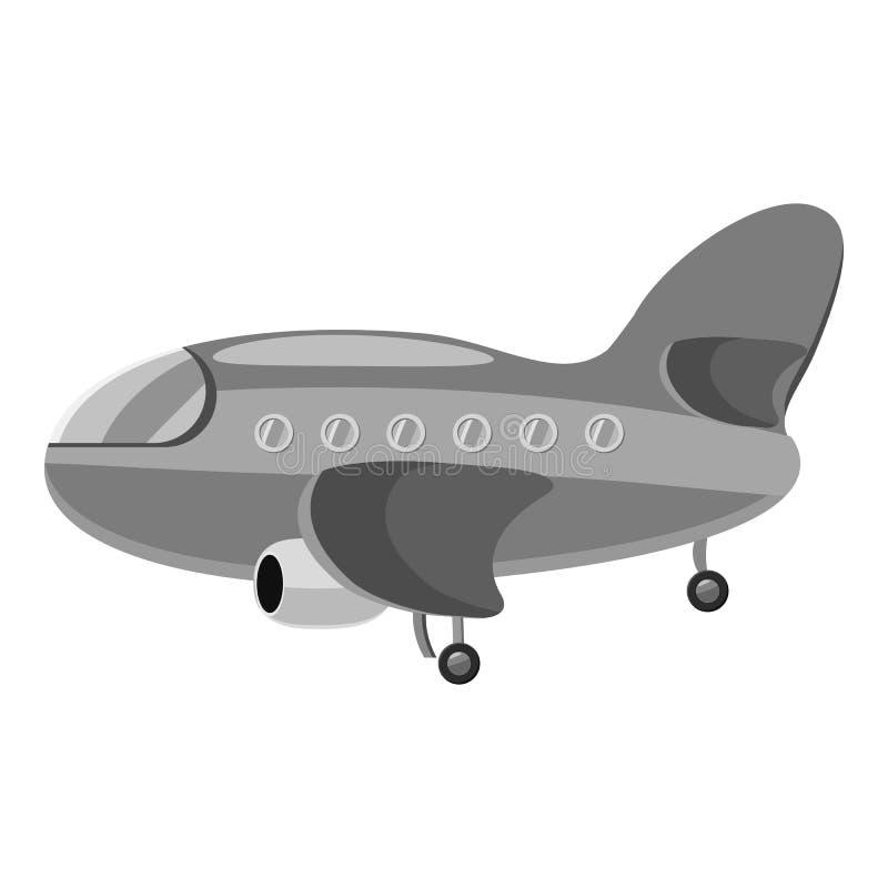 Icono del aeroplano, estilo monocromático gris libre illustration