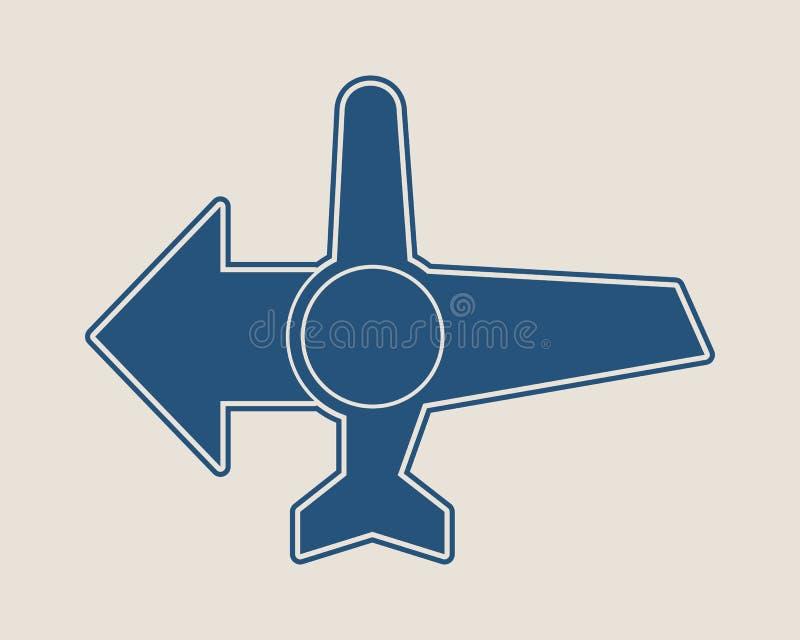 Icono del aeroplano y flecha del destino ilustración del vector