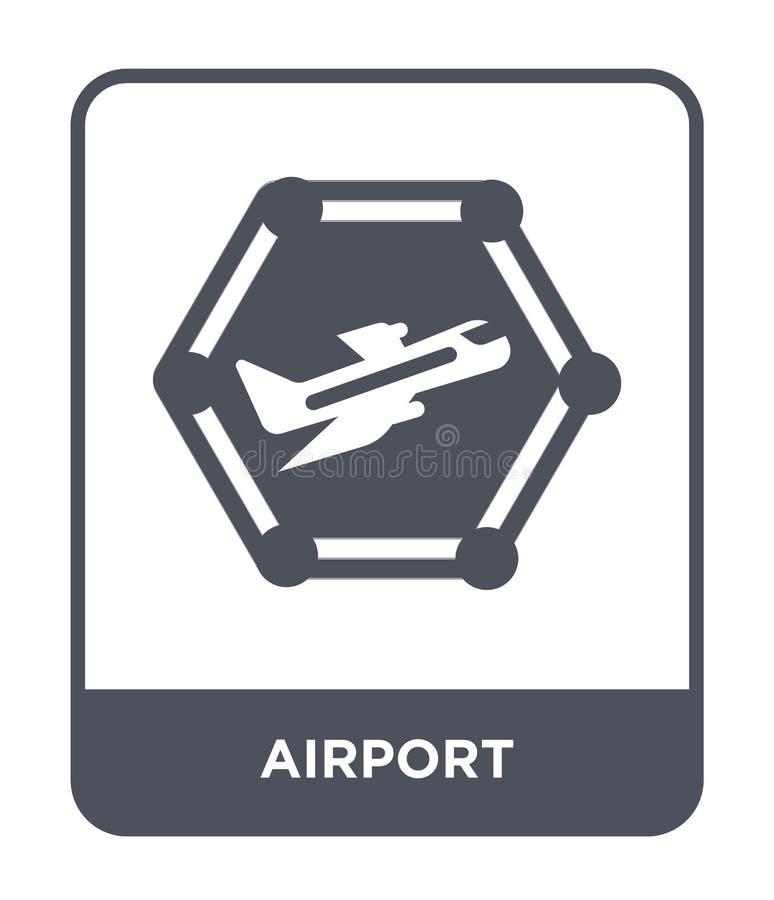 icono del aeropuerto en estilo de moda del diseño icono del aeropuerto aislado en el fondo blanco símbolo plano simple y moderno  ilustración del vector