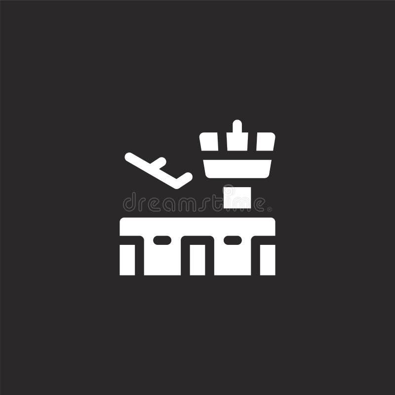 Icono del aeropuerto Icono llenado del aeropuerto para el diseño y el móvil, desarrollo de la página web del app icono del aeropu stock de ilustración