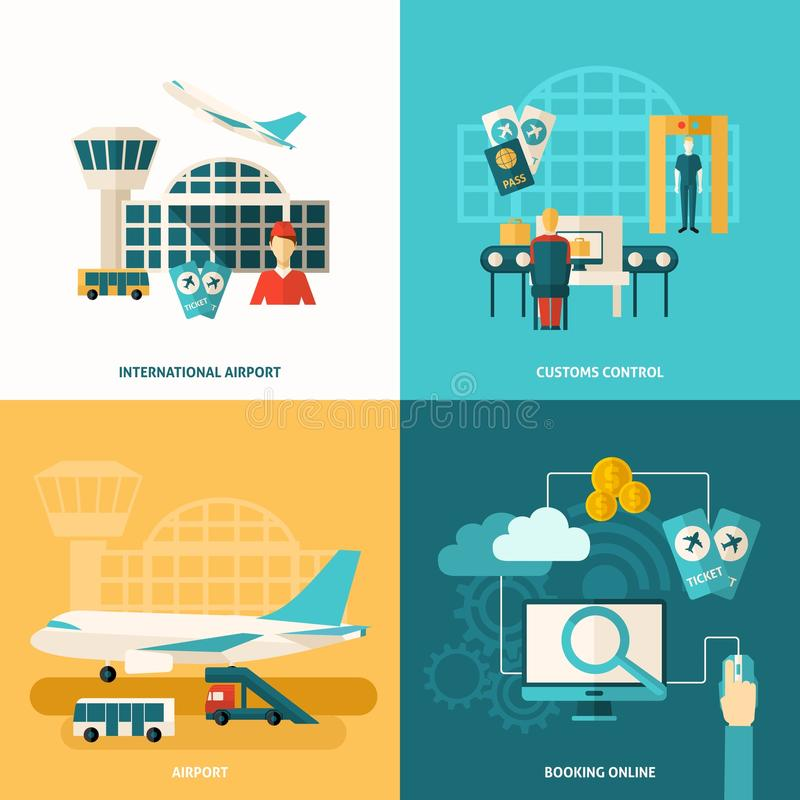 Icono del aeropuerto plano libre illustration