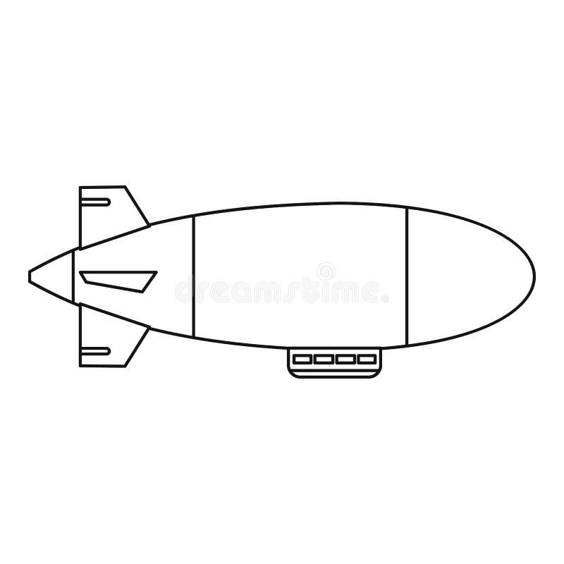 Icono del aerostato del globo del dirigible, estilo del esquema libre illustration