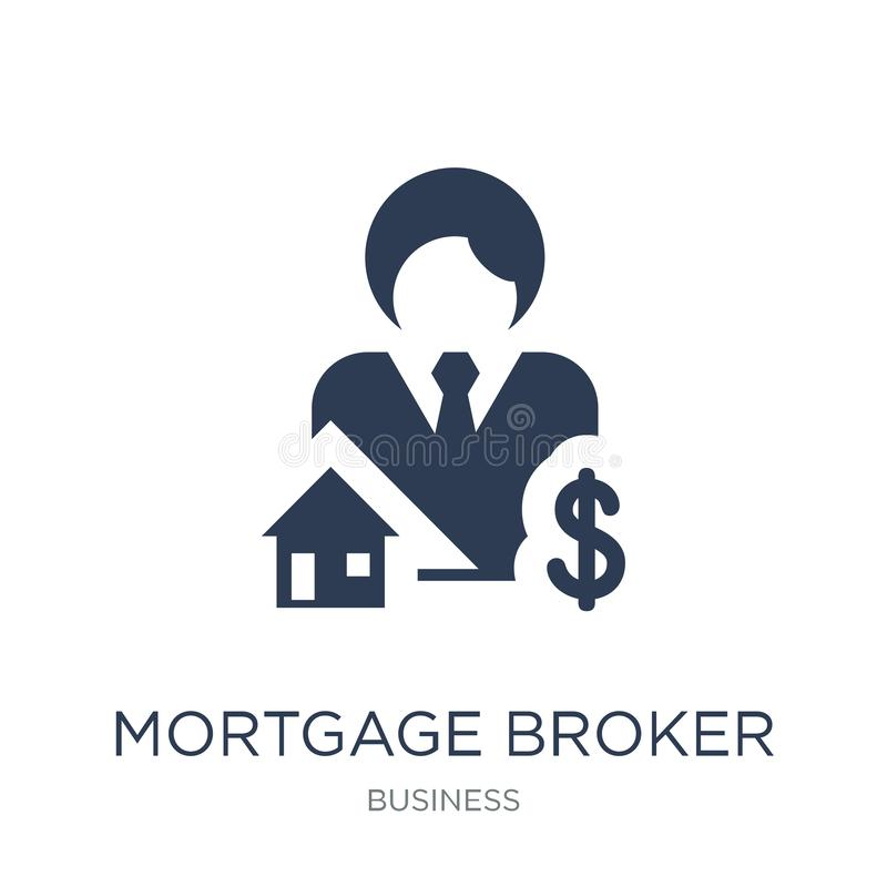 Icono del agente de hipoteca Icono plano de moda del agente de hipoteca del vector encendido ilustración del vector