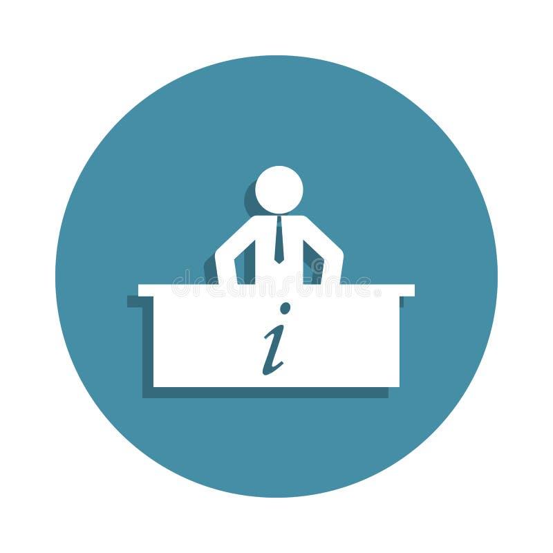 icono del agente de la información en estilo de la insignia Uno del icono de la colección del aeropuerto se puede utilizar para U stock de ilustración