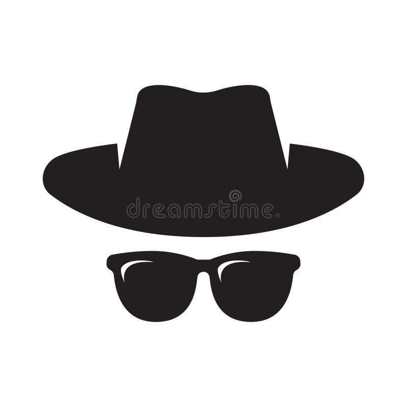 Icono del agente Gafas de sol del espía Sombrero y vidrios ilustración del vector
