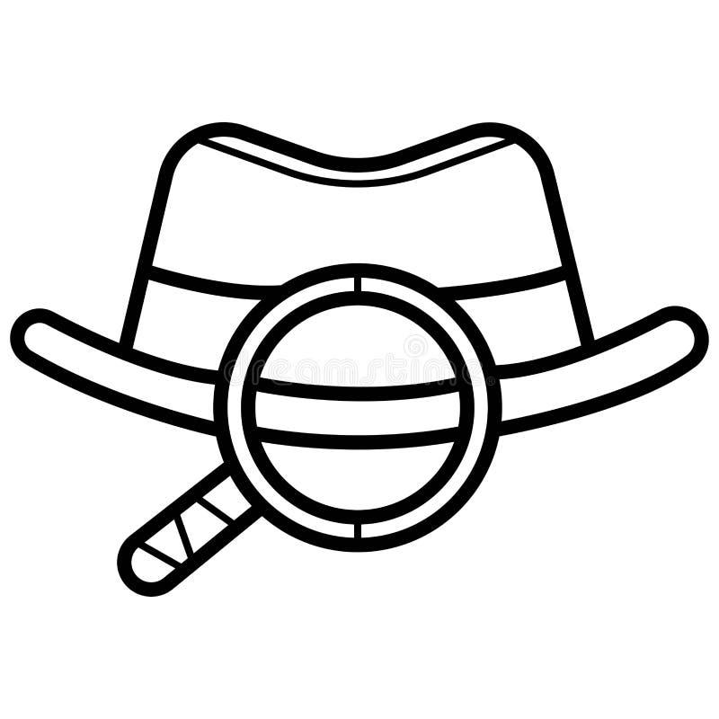 Icono del agente Gafas de sol del esp?a Sombrero y vidrios stock de ilustración