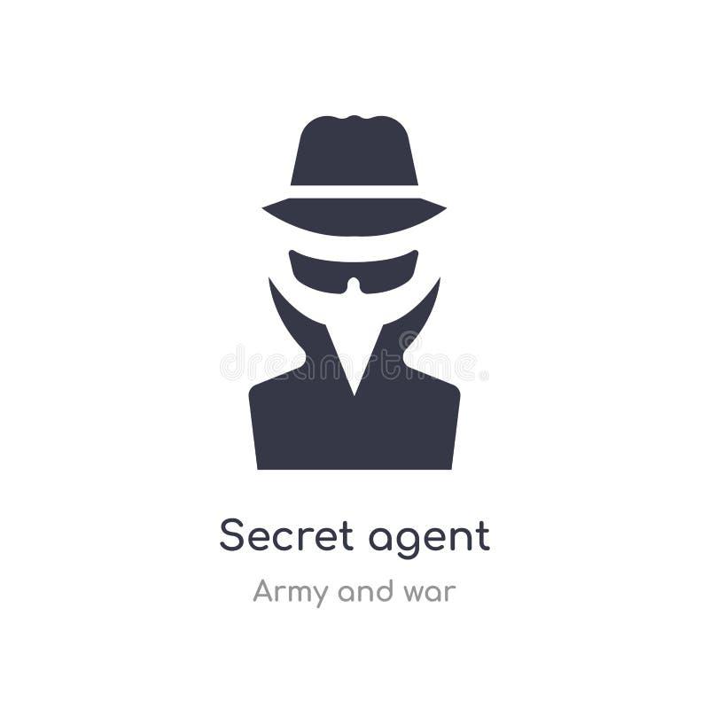 Icono del agente secreto ejemplo aislado del vector del icono del agente secreto de la colección del ejército y de la guerra edit libre illustration