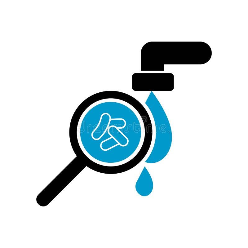 Icono del icono del agua contaminada Bacterias en agua c?lera Ilustraci?n del vector c?lera libre illustration