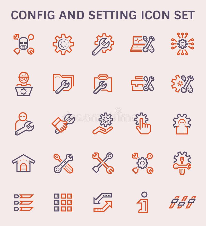 Icono del ajuste de los Config stock de ilustración