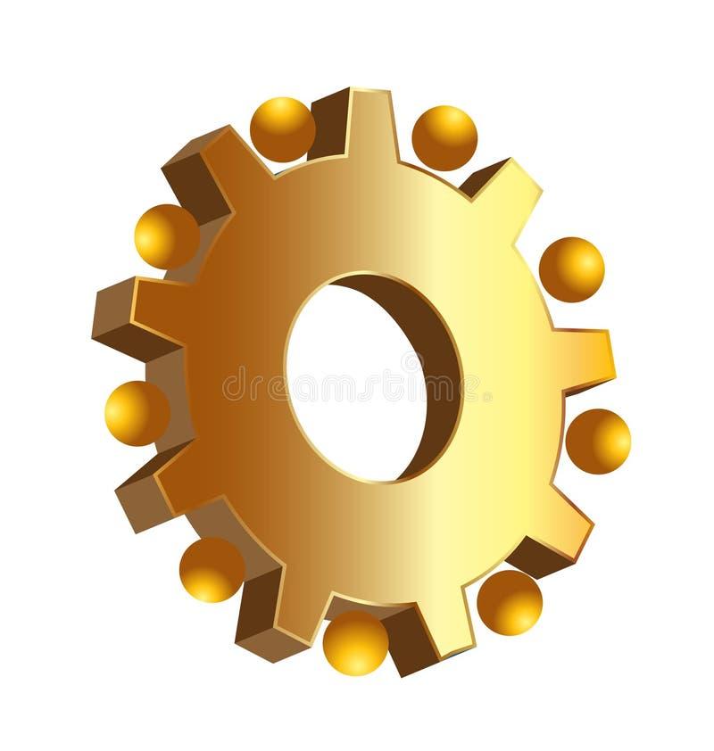Icono del ajuste del engranaje del oro stock de ilustración