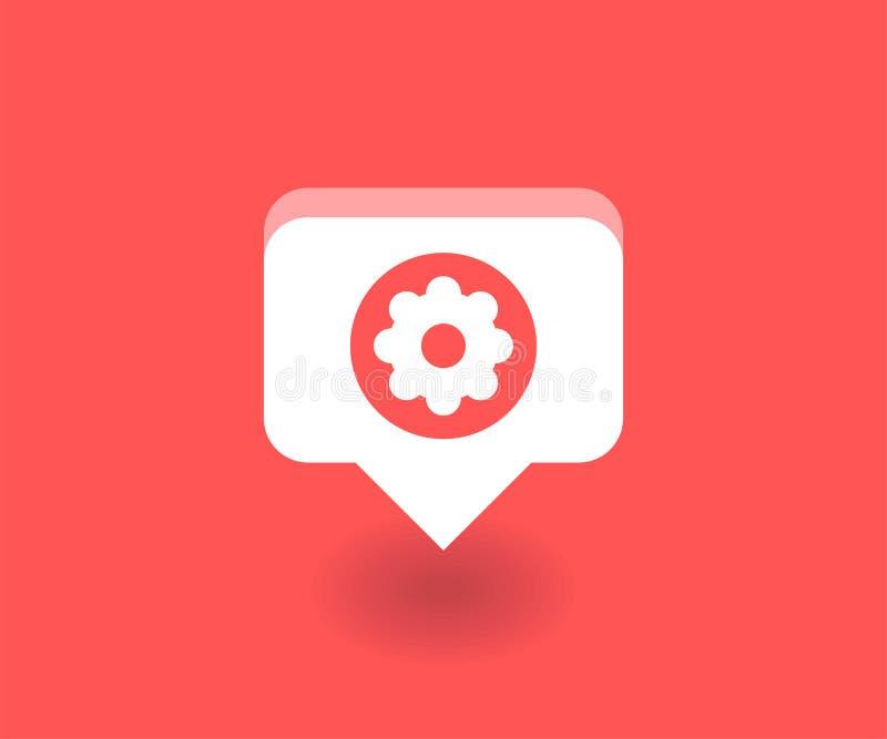 Icono del ajuste, símbolo del vector en estilo plano aislado en fondo rojo Medios ejemplo social libre illustration