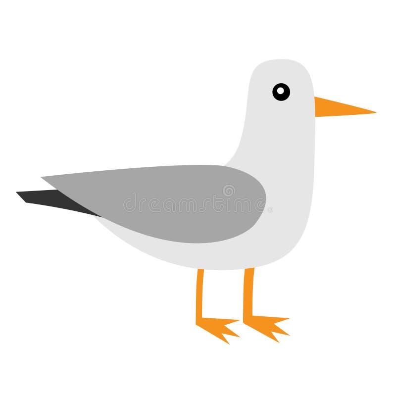 Icono del albatros Pájaro real que vaga de la gaviota del petrel de la Antártida Colección animal ártica Carácter lindo del bebé  stock de ilustración