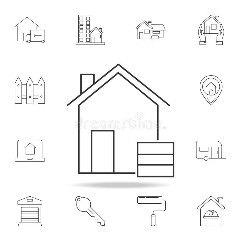 icono del almacén aislado en el fondo blanco Sistema de iconos del elemento de las propiedades inmobiliarias de la venta Diseño g ilustración del vector