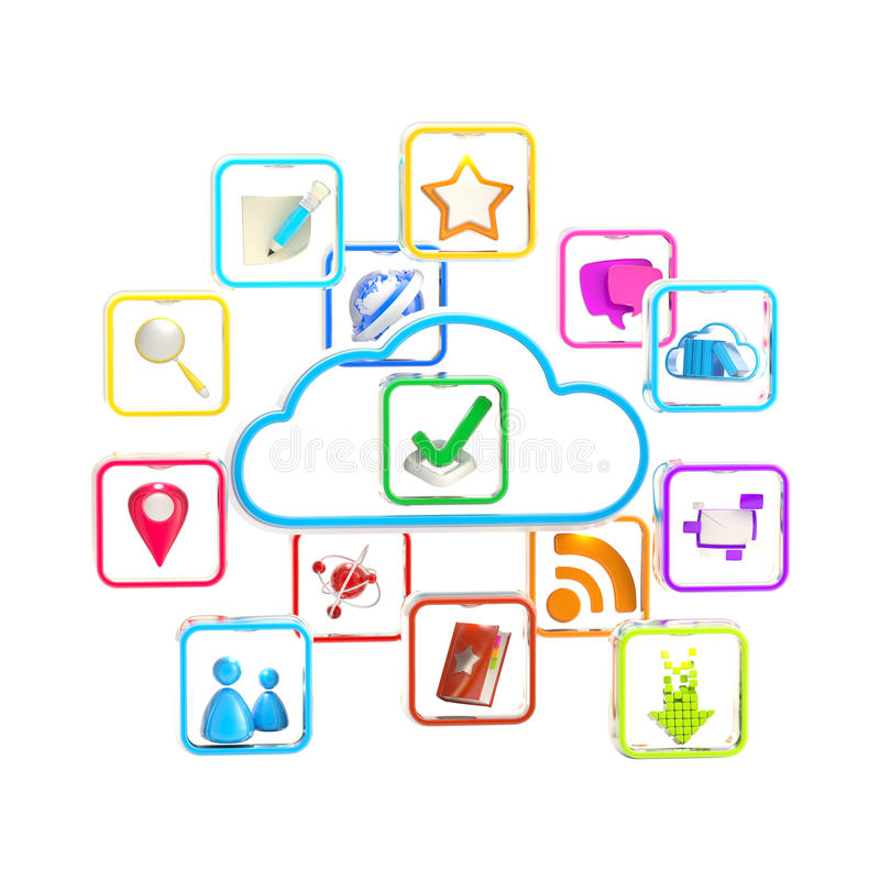 Icono del almacén de la aplicación de la tecnología de la nube libre illustration
