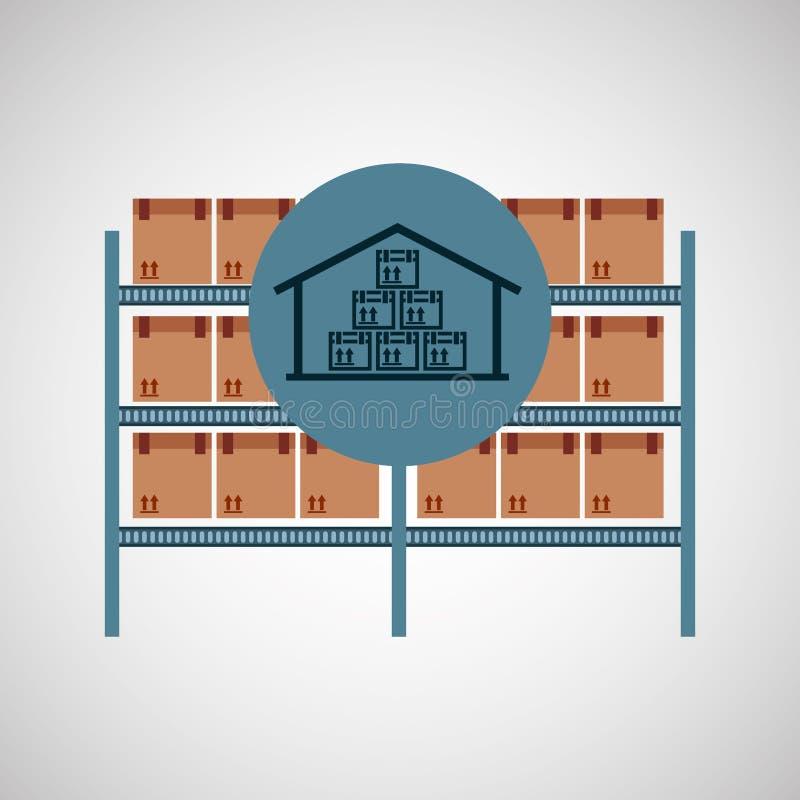 Icono del almacenamiento de la caja de Warehouse libre illustration