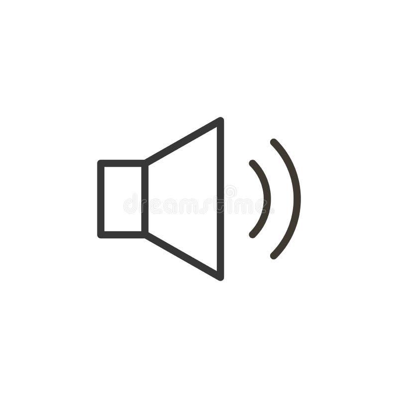 Icono del altavoz del audio o de la música Línea fina botón del vector para el interfa stock de ilustración