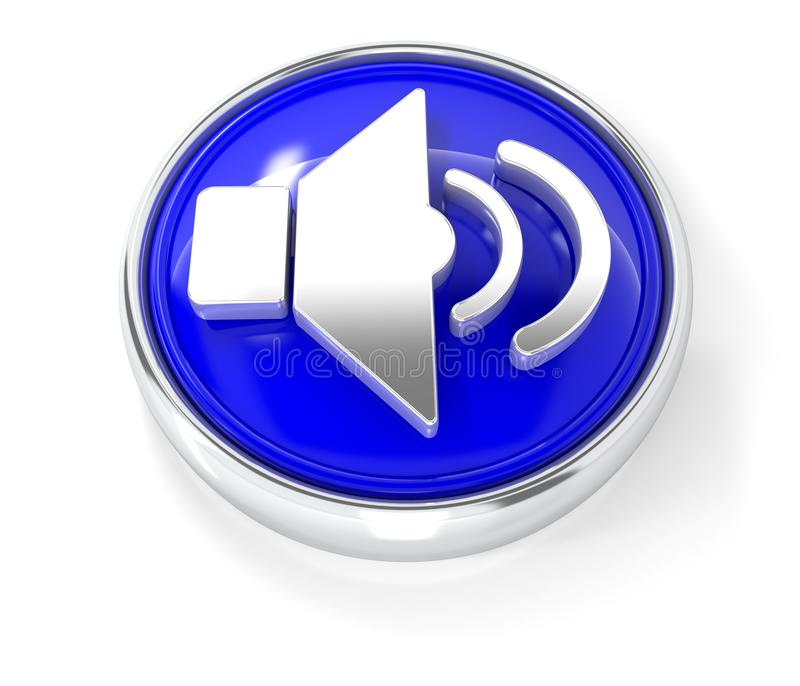 Icono del altavoz en el botón redondo azul brillante stock de ilustración