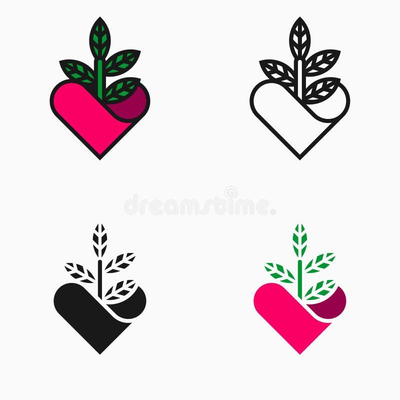 Icono del amante de la naturaleza o de la planta, símbolo o logotipo stock de ilustración