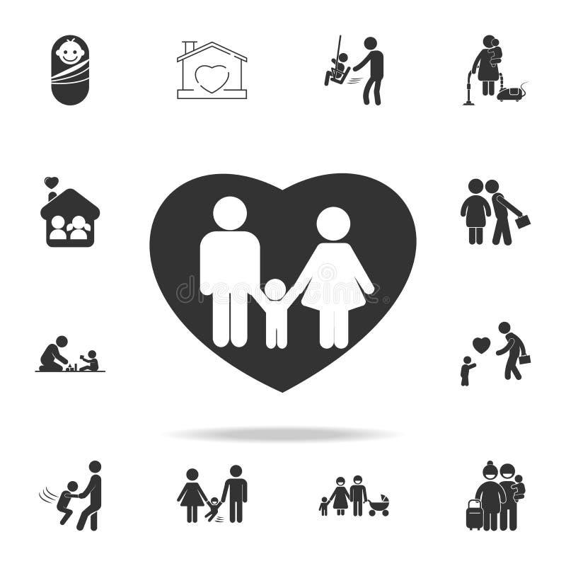 Icono del amor de la familia - madre, padre y niño en icono del corazón Sistema detallado de iconos humanos de la parte del cuerp stock de ilustración