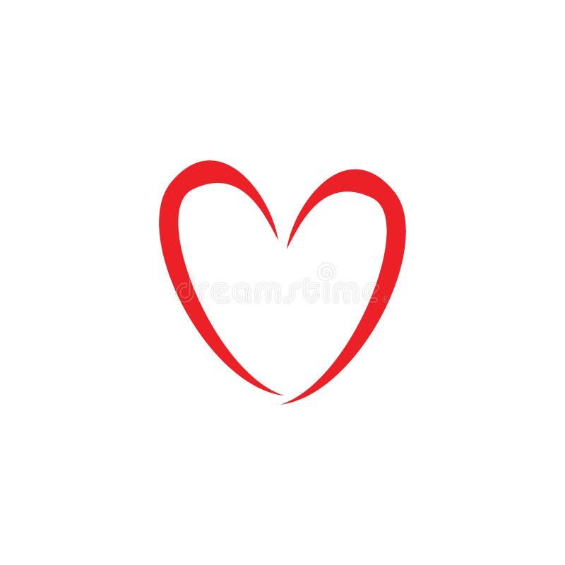 Icono del amor de la mano o concepto exhausto del logotipo de los ejemplos stock de ilustración