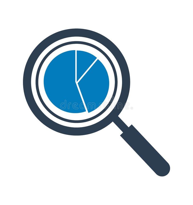 Icono del análisis de datos con símbolo del gráfico de sectores de la lupa y Vector plano EPS del estilo stock de ilustración