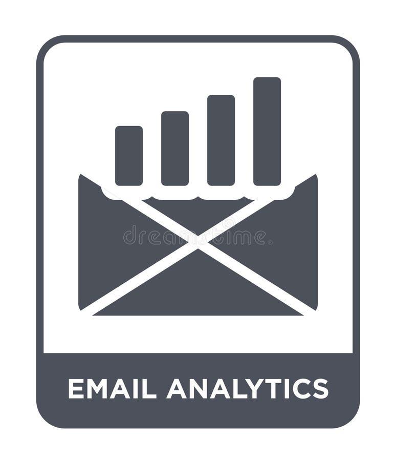 icono del analytics del correo electrónico en estilo de moda del diseño icono del analytics del correo electrónico aislado en el  ilustración del vector