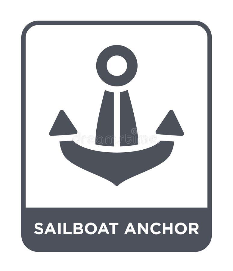 icono del ancla del velero en estilo de moda del diseño icono del ancla del velero aislado en el fondo blanco icono del vector de libre illustration