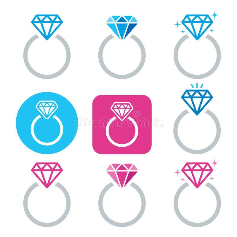 Icono del anillo de compromiso del diamante - el día de tarjeta del día de San Valentín stock de ilustración