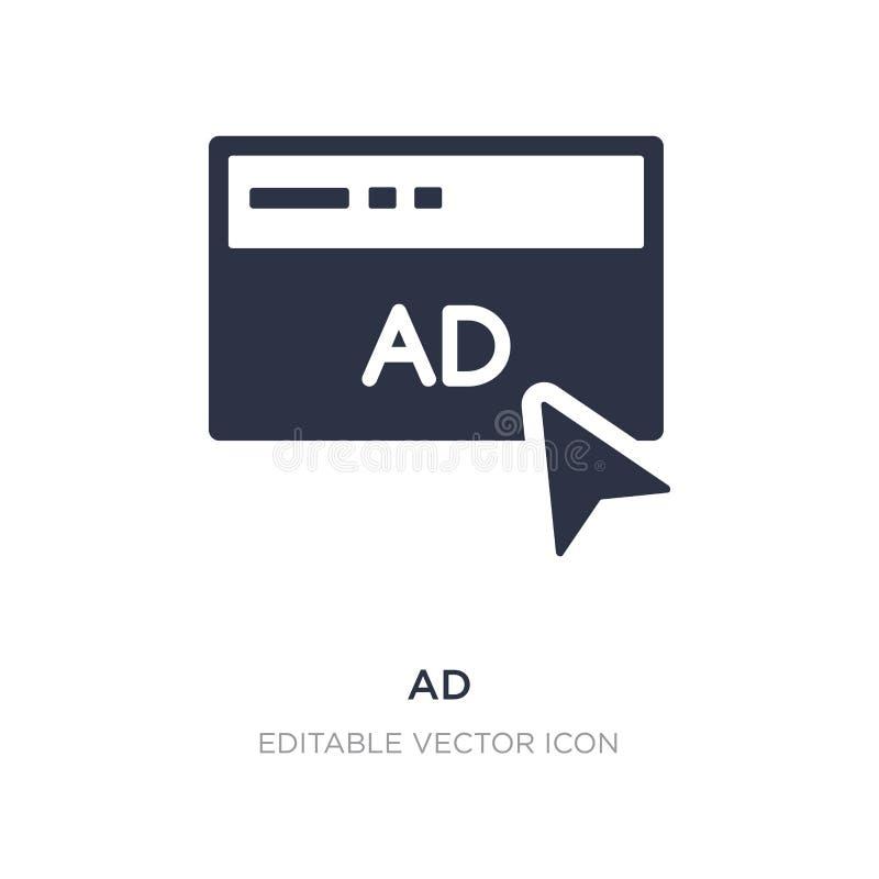 icono del anuncio en el fondo blanco Ejemplo simple del elemento del concepto de comercialización de los medios sociales stock de ilustración