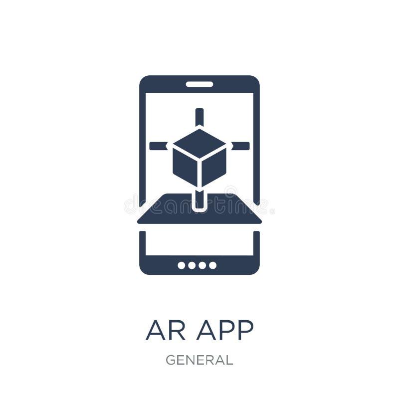 icono del app de AR Icono plano de moda del app de AR del vector en el fondo blanco stock de ilustración