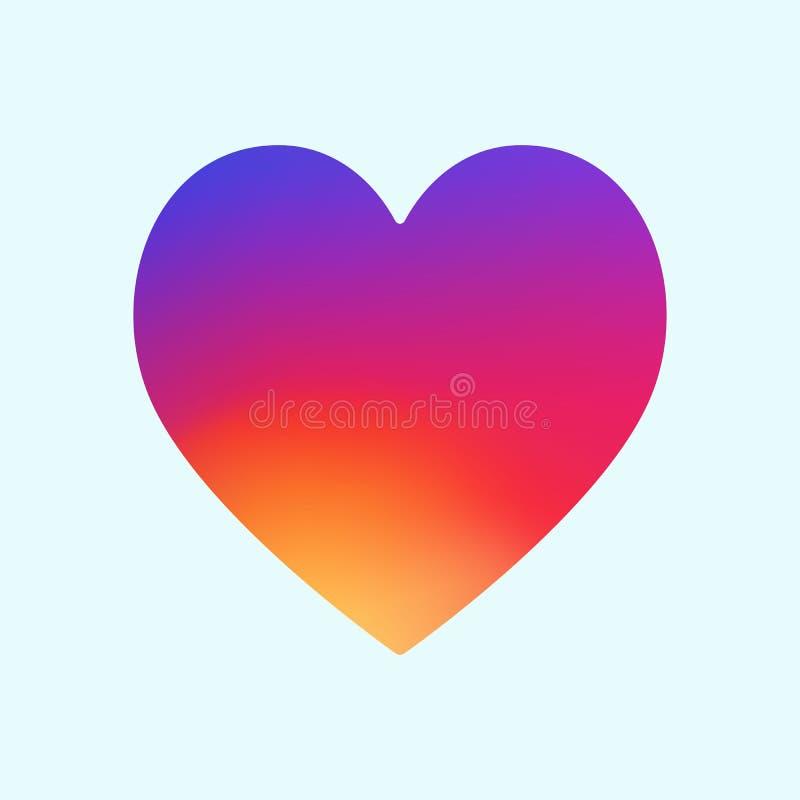 Icono del app del símbolo del corazón con el ejemplo liso Eps10 del extracto del fondo de la pendiente del color Vagos gráficos stock de ilustración