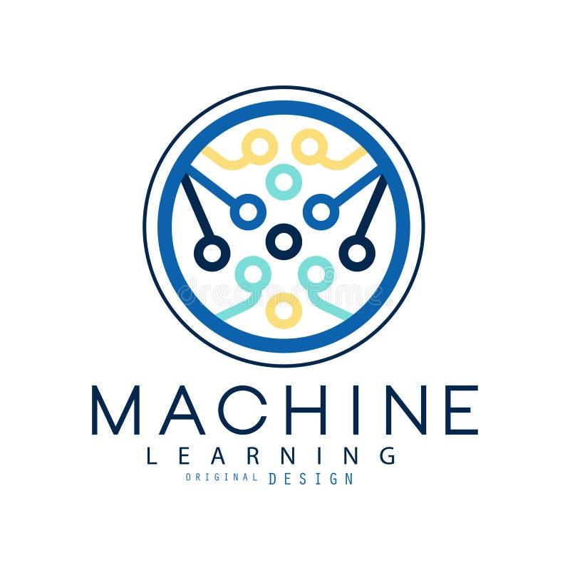 Icono del aprendizaje de máquina en forma del círculo Desarrollo de la inteligencia de informática y artificial Tecnología modern stock de ilustración