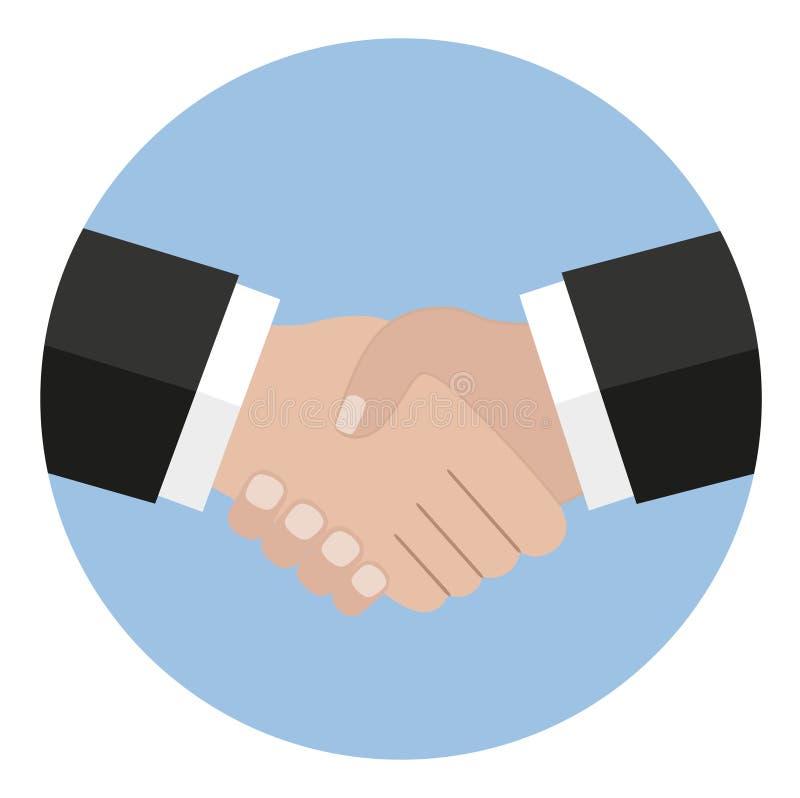 Icono del apretón de manos Sacuda las manos, acuerdo, buen trato, conceptos de la sociedad stock de ilustración