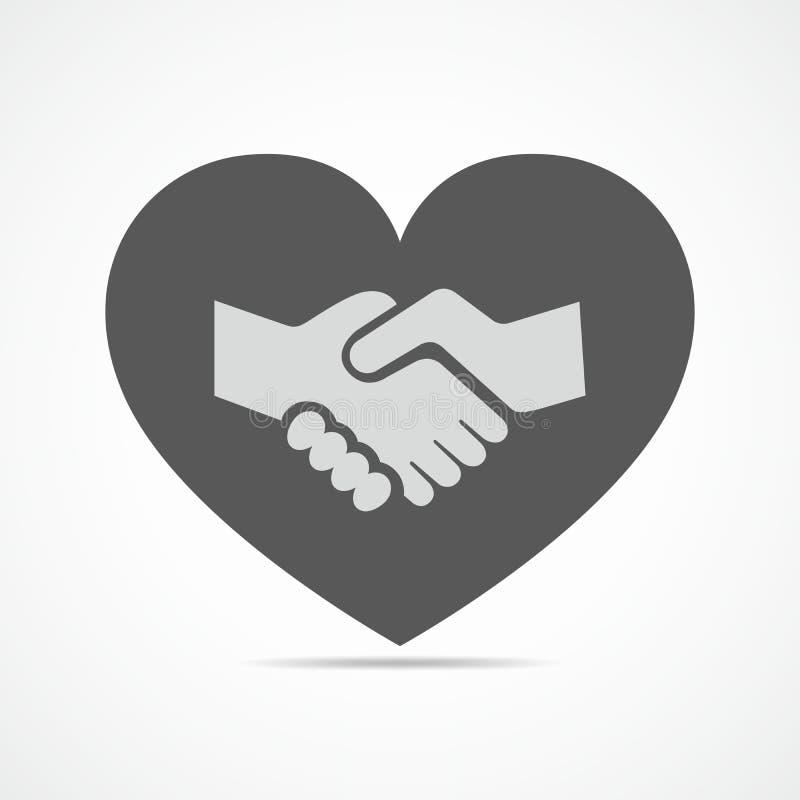Icono del apretón de manos y del corazón Ilustración del vector ilustración del vector