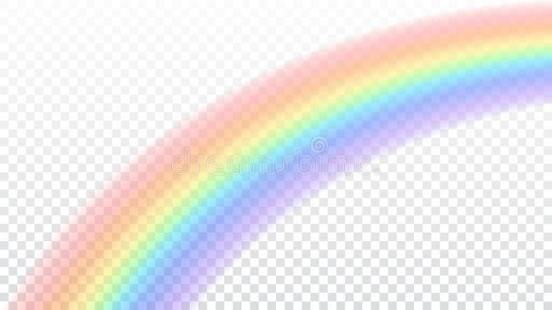 Icono del arco iris Arco de la forma realista en el fondo transparente blanco Luz colorida y elemento brillante del diseño stock de ilustración