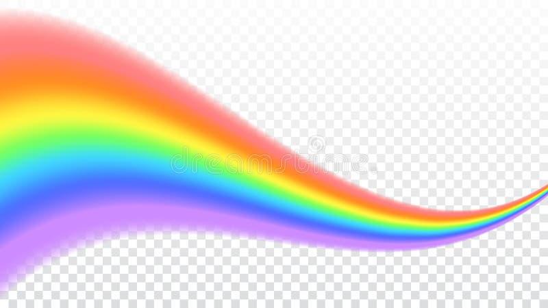 Icono del arco iris Forme realista de la onda aislado en el fondo transparente blanco Luz colorida y elemento brillante del diseñ stock de ilustración