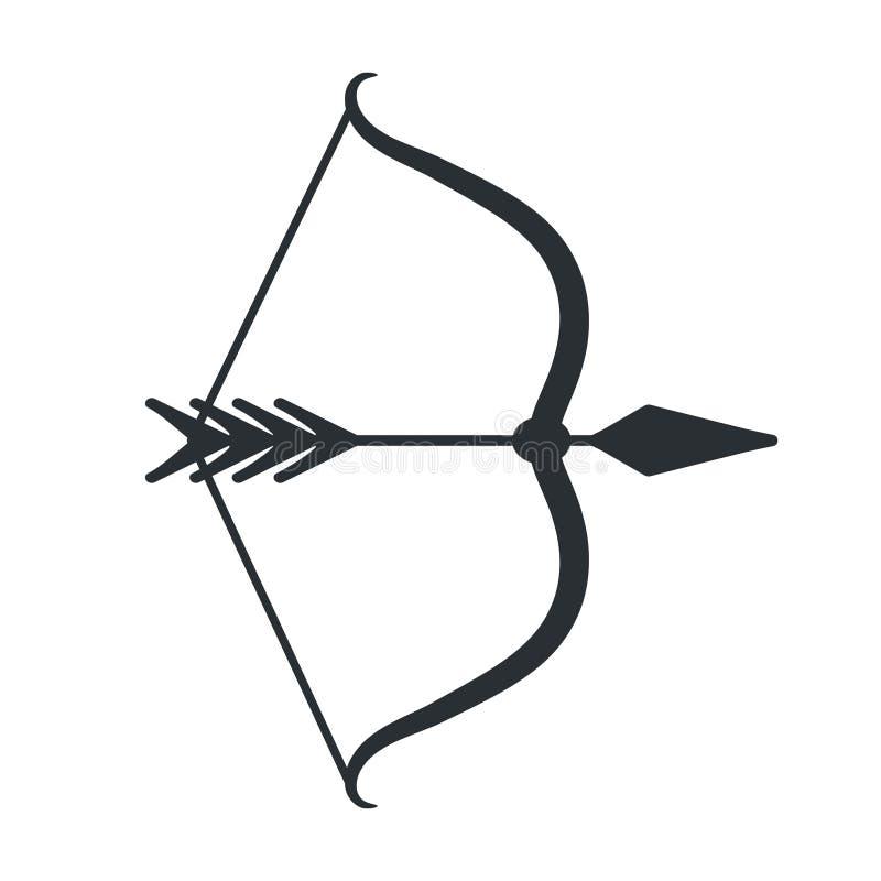Icono del arco y de la flecha en el slyle plano, vector común libre illustration