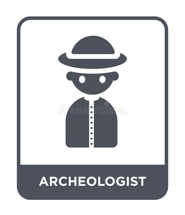 icono del arqueólogo en estilo de moda del diseño icono del arqueólogo aislado en el fondo blanco icono del vector del arqueólogo stock de ilustración