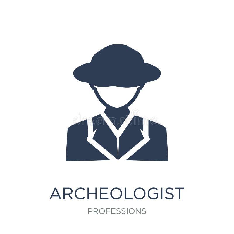 Icono del arqueólogo Icono plano de moda del arqueólogo del vector en blanco stock de ilustración