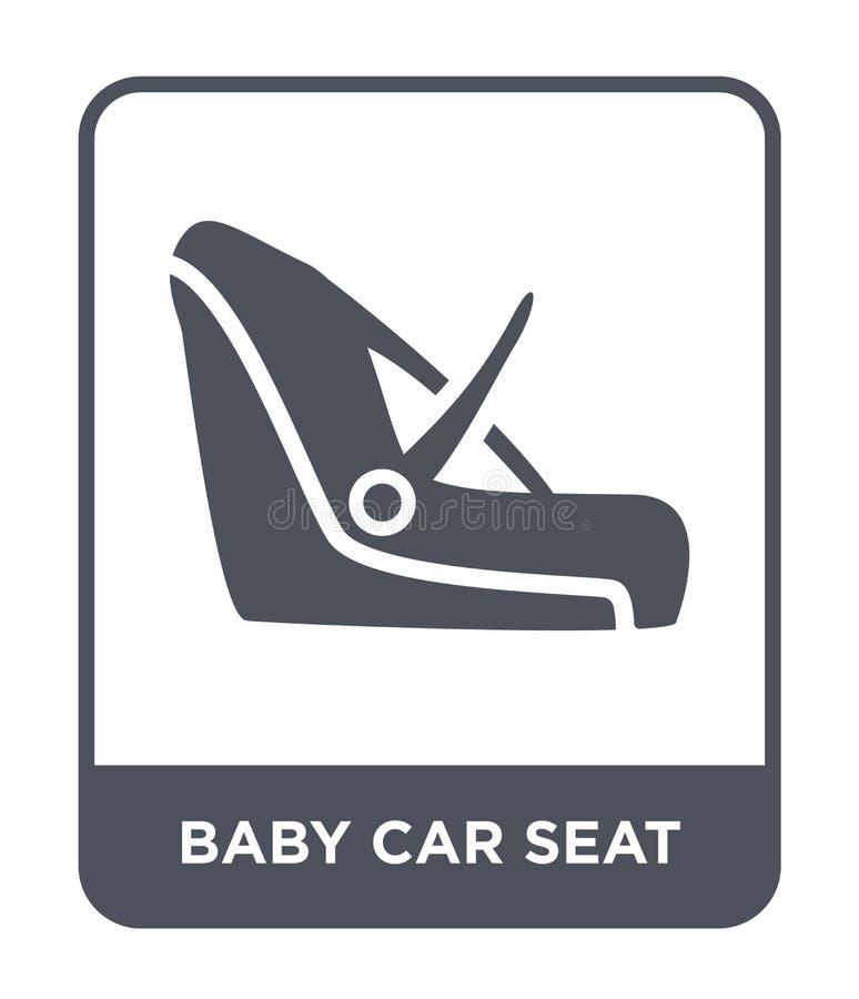 icono del asiento de carro del bebé en estilo de moda del diseño icono del asiento de carro del bebé aislado en el fondo blanco i libre illustration