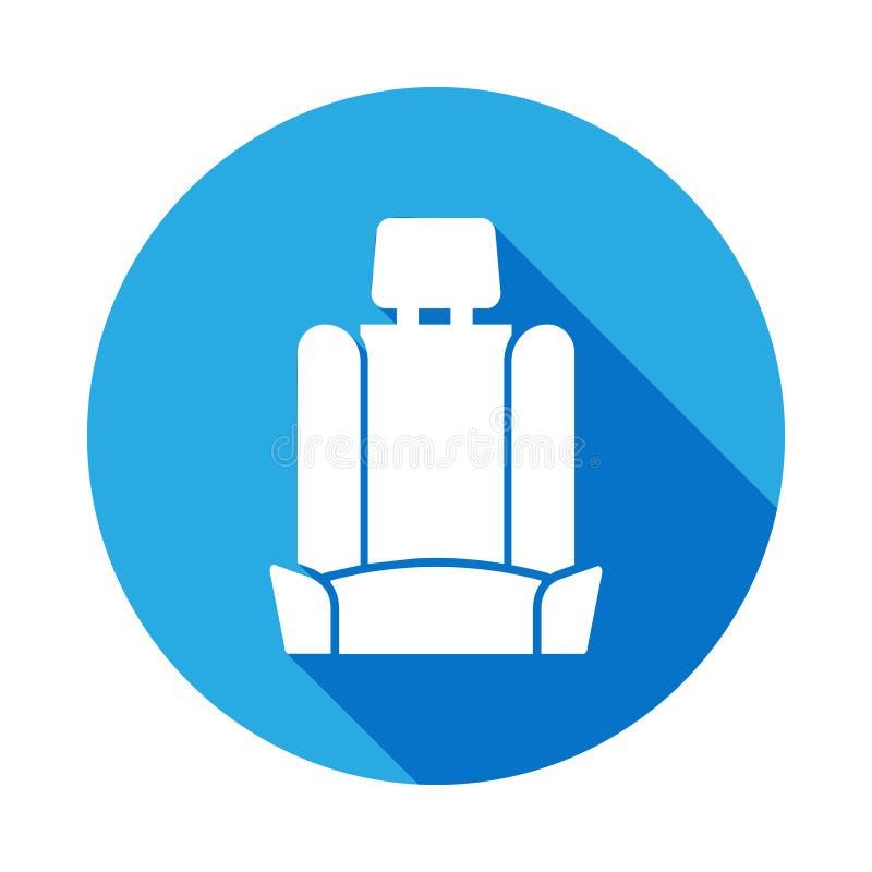 Icono del asiento de carro con la sombra larga Elemento del ejemplo de los servicios de reparación del coche Muestras e icono par stock de ilustración