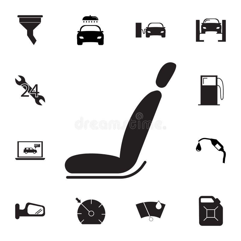 Icono del asiento de carro Sistema de iconos de la reparación del coche Muestras, colección del eco del esquema, iconos simples p ilustración del vector