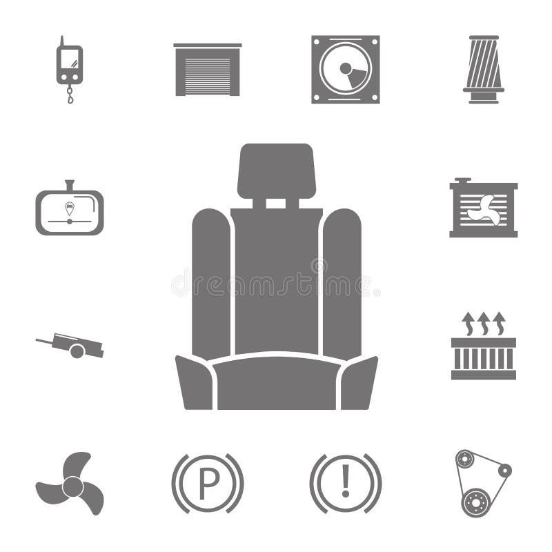 Icono del asiento de carro Sistema de iconos de la reparación del coche Muestras de la colección, iconos simples para los sitios  stock de ilustración