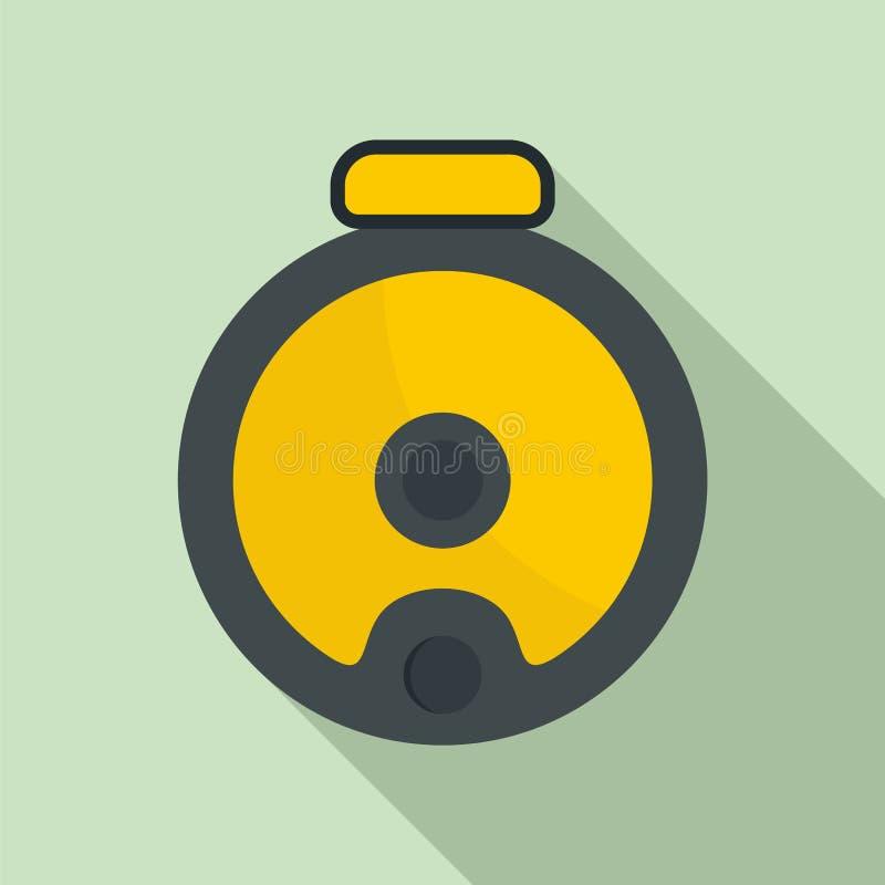 Icono del aspirador del robot de la visión superior, estilo plano ilustración del vector