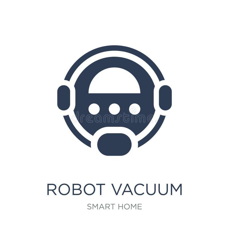 Icono del aspirador del robot Vacío plano de moda del robot del vector limpio libre illustration