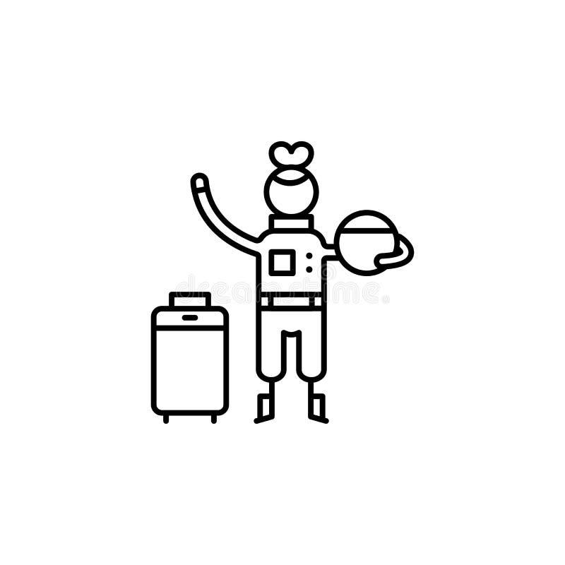 Icono del astronauta Elemento de la gente en la línea icono del viaje Línea fina icono para el diseño y el desarrollo, desarrollo stock de ilustración