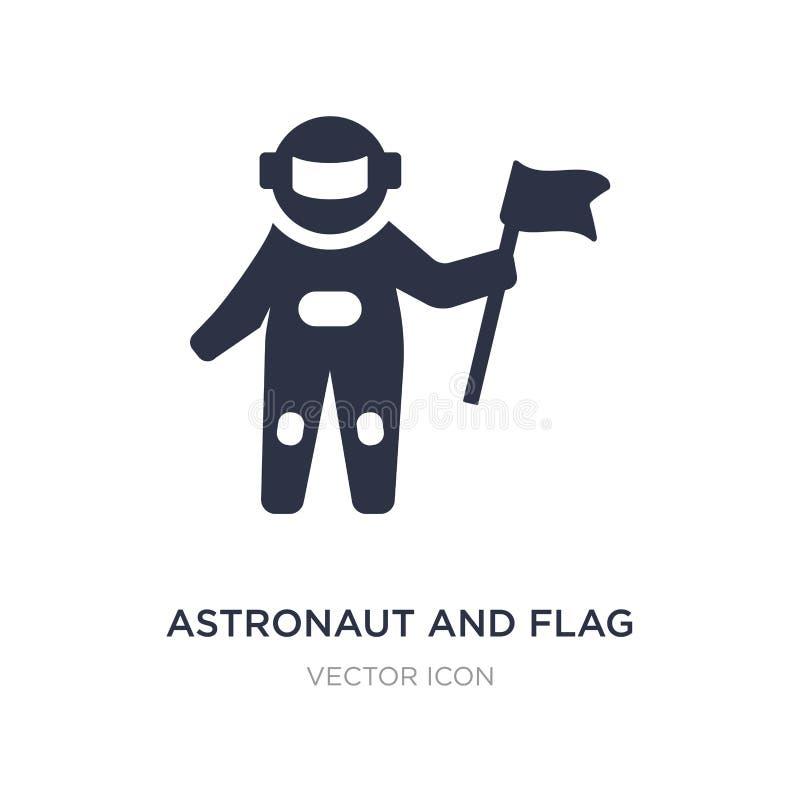 icono del astronauta y de la bandera en el fondo blanco Ejemplo simple del elemento del concepto de la astronomía ilustración del vector
